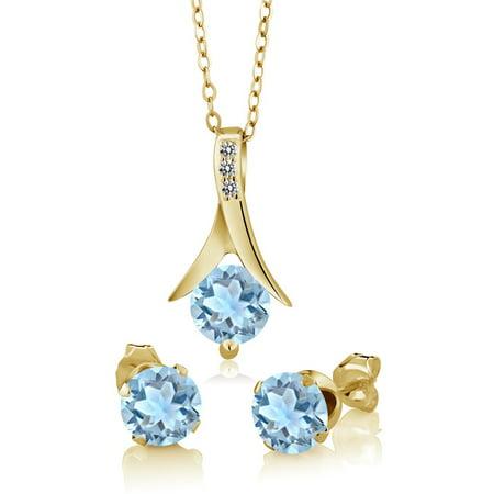 Aquamarine Jewelry - 2.30 Ct Sky Aquamarine White Diamond 18K Yellow Gold Plated Silver Jewelry Set