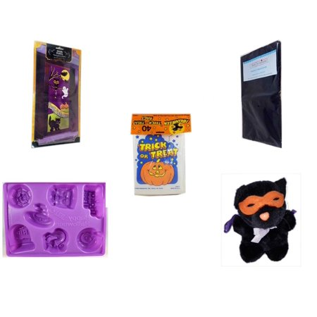 Halloween Fun Gift Bundle [5 Piece] - Happy  Door Panel - Black Plastic Table Cover  -  Trick or Treat Bags 40/ct - Happy  Jell-O Mold - Manley Toys  Costume Cat Plush 5