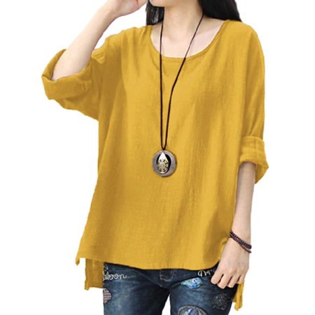Womens Round Neck Long Sleeve Loose Asymmetric (Asymmetric Sleeve Top)