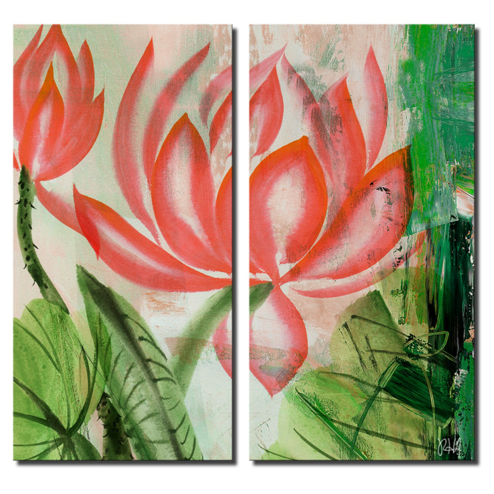 Ready2HangArt Painted Petals LIII Canvas Wall Art - 2 pc. Set