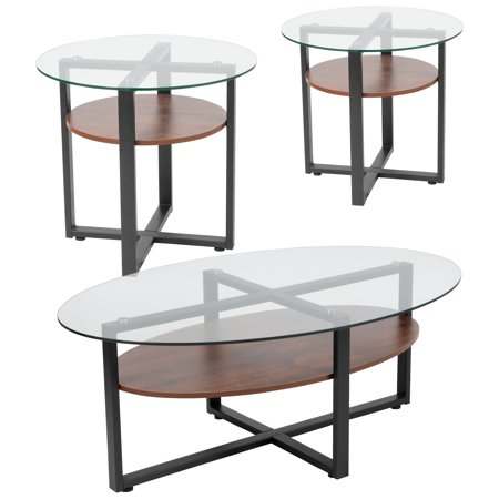 - Princeton Collection Flash Furniture 3 Piece Coffee and End Table Set with Glass Tops and Rustic Oak Wood Shelves