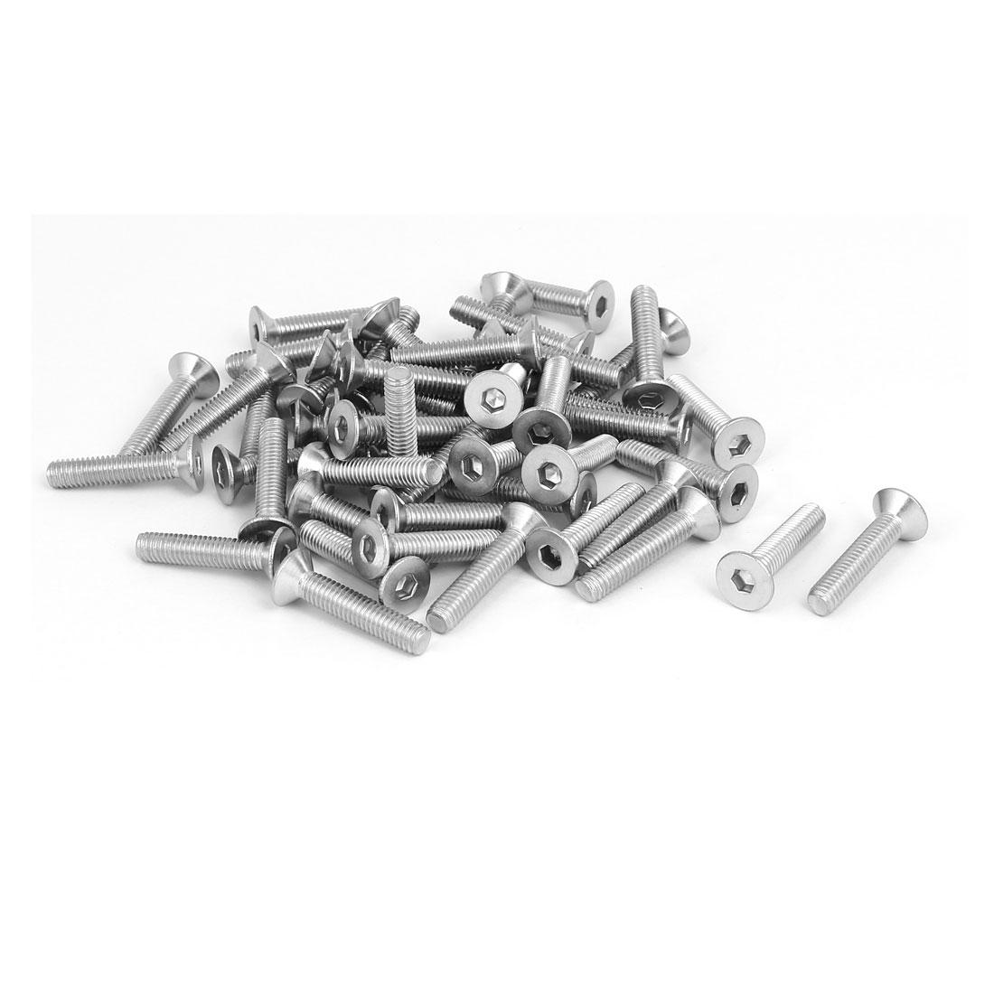 M6x30mm vis à tête hexagonale tête plate en acier inoxydable 304 DIN7991 50pcs - image 2 de 2