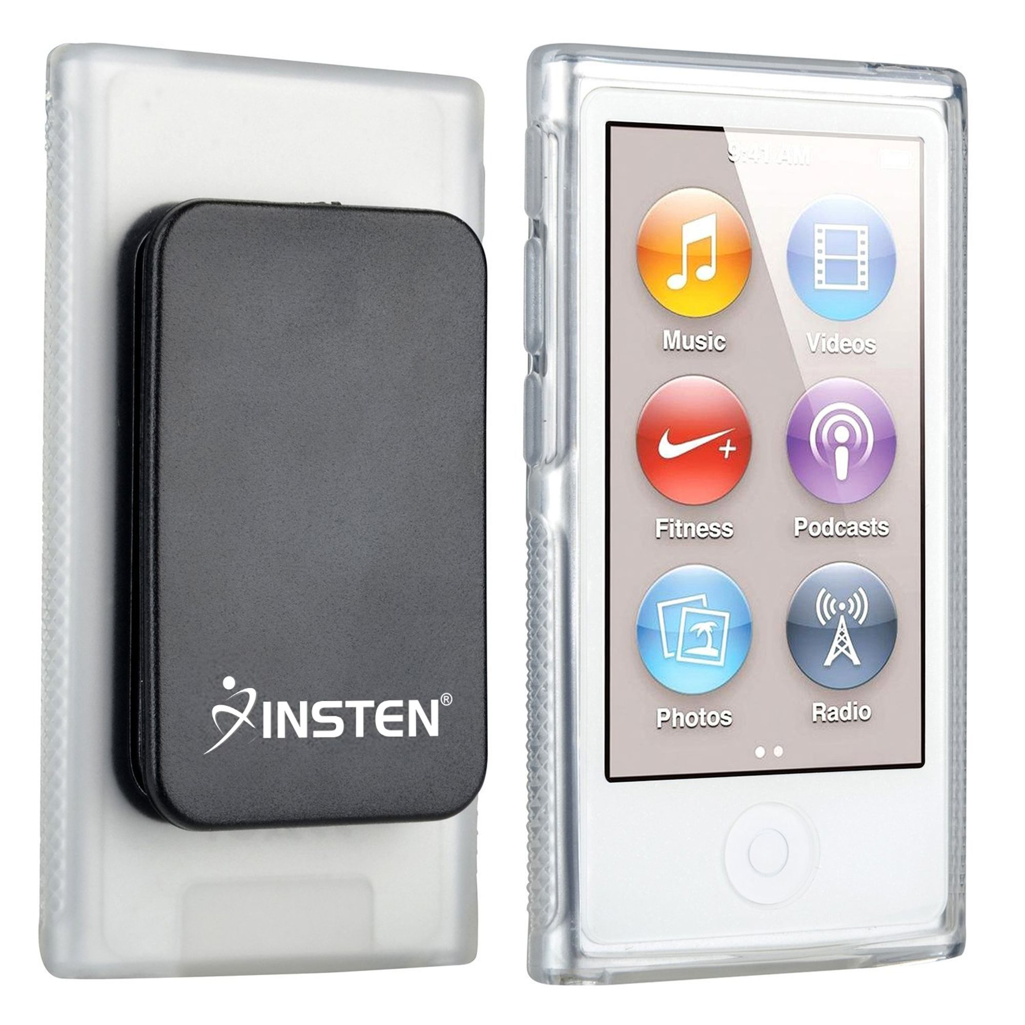 2 Pack Insten TPU Rubber Skin Case with Belt Clip For Apple iPod nano 7 7th Generation, Clear