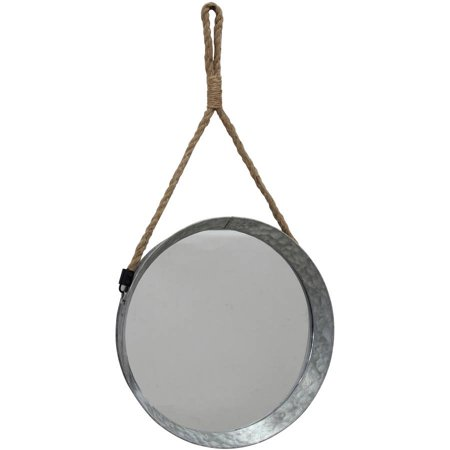 Large Suspended Round Galvanized Mirror with Rope ()