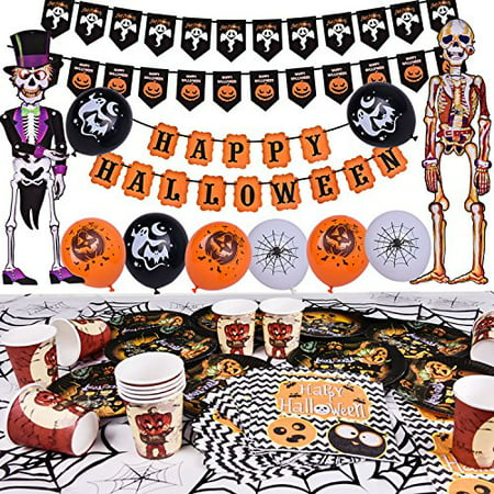 Halloween Party Supplies Cute Fun Party Favors Decoration All-in-One Pack for Kids Theme Party Include Paper Plate, Cup, Balloon, Table Cloth, Banners and Hanging Skeleton Props 88 PCs F-186