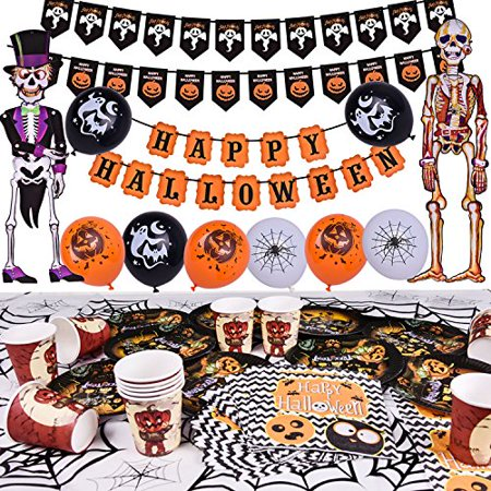 Halloween Party Supplies Cute Fun Party Favors Decoration All-in-One Pack for Kids Theme Party Include Paper Plate, Cup, Balloon, Table Cloth, Banners and Hanging Skeleton Props 88 PCs F-186 - Halloween Decorations For Kids Party