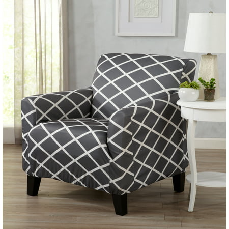 Atlantic Home Fashions Twill Form Fitting Stretch Fit One Piece Diamond Printed Slipcover Couch Cover, Chair, Gray ()