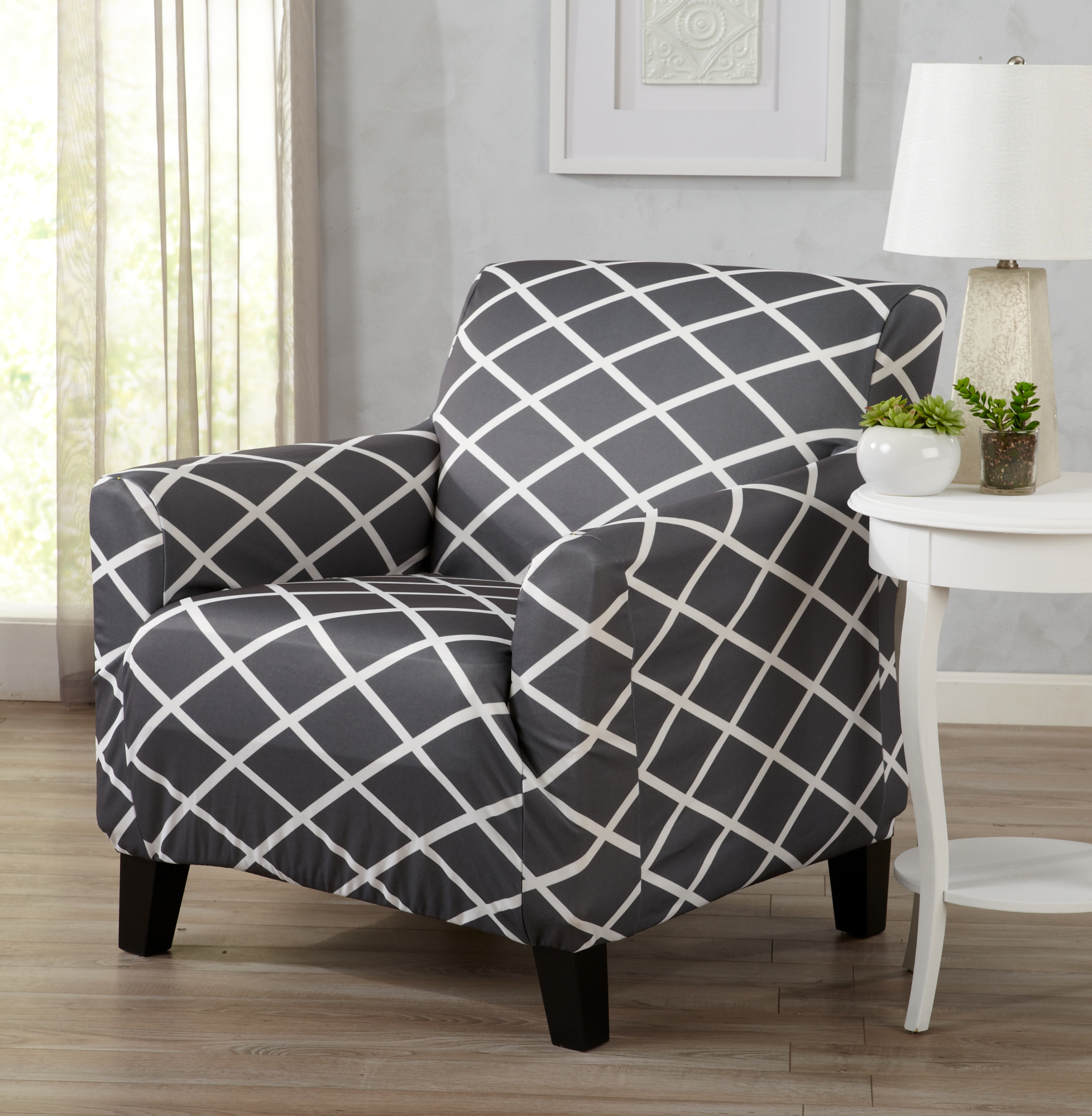 Atlantic Home Fashions Twill Form Fitting Stretch Fit One Piece Diamond Printed Slipcover Couch Cover, Chair, Gray