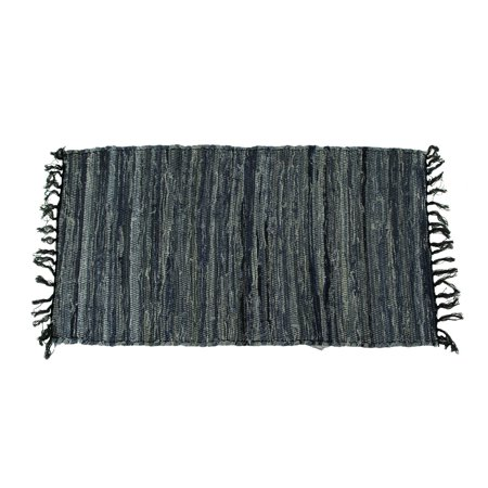 Blue Denim Rag Woven Cotton Fringed Throw Rug - image 1 of 3