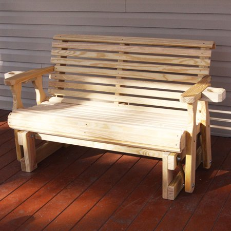 Amish Heavy Duty 800 Lb Roll Back Pressure Treated Porch Glider With Cupholders (4 Foot, Unfinished) ()