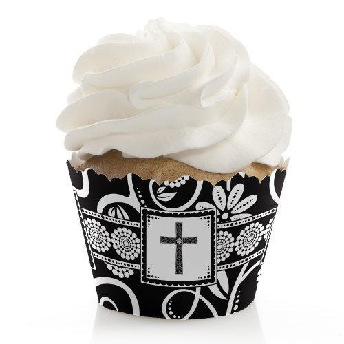 Modern Floral Black & White Cross - Baptism Party Cupcake Wrappers (set of 12)