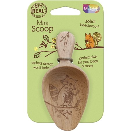 Talisman Designs Beachwood Mini Scoop, Wildlife Design Raccoon, Laser Etched Art, 5.5', Natural