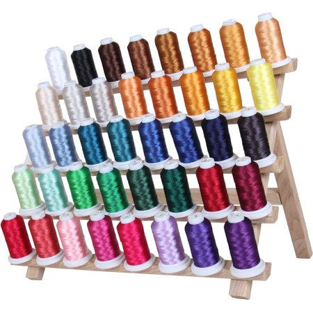 Threadart 40 Spool Polyester Embroidery Machine Thread Set Vibrant Colors | 500M Spools 40wt | For Brother Babylock Janome Singer Pfaff Husqvarna Bernina Machines - 4 Sets Available (Wooden Thread Spools)