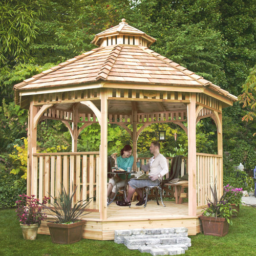 12 ft. Octagon Bayside Panelized Gazebo, Browns/Tans