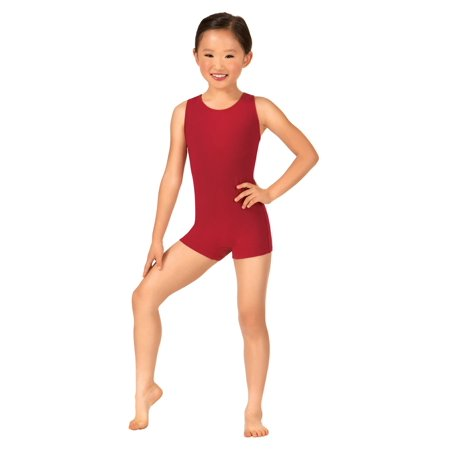 Child Keyhole Back Tank Shorty Unitard - Black Cotton Unitard
