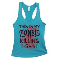 """Womens Basic Tank Top """"This is my Zombie Killing Shirt"""" Walking Dead Shirt Gift Small, Sky Blue"""