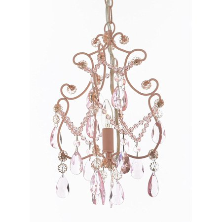Wrought Iron and Crystal 1 Light Chandelier Pendant Pink Lighting Hardwire and Plug In Perfect for Kid's Girl's (Chandelier Rose Pendant)