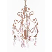 Plug in pendant lights wrought iron and crystal 1 light chandelier pendant pink lighting hardwire and plug in perfect for aloadofball Gallery