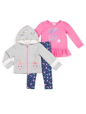 Little Lass Unicorn Sherpa Jacket, Long Sleeve Tulle Top & Printed Leggings, 3pc Outfit Set (Toddler Girls)