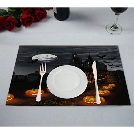 GCKG Full Moon Placemat, Halloween Wizard Pumpkin Castle Placemat 12x18 Inch,Set of 2 (Halloween Placemats Target)