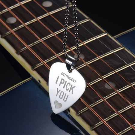 ammoon Guitar Pick Necklace Stainless Steel with 50cm/20in Ball Chain Silver Color - Guitar Necklaces