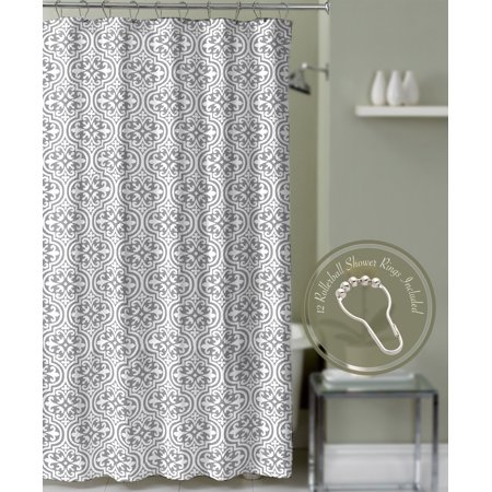 gray fabric bathroom shower curtain quatrefoil medallion