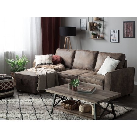 Wondrous Modern Right Hand Faux Leather Sectional Sofa Bed Storage Brown Polyester Loose Cushion Back Nesna Theyellowbook Wood Chair Design Ideas Theyellowbookinfo
