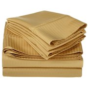 100% Egyptian Cotton 1000 Thread Count Oversized King Sheet Set Stripe, Gold