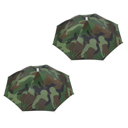 2 Pack Rain Sun Umbrella Hat Cap Headwear for Fishing Camping Hunting Green Camouflage Cover 53cm Diameter (Fishing Umbrella Hat)