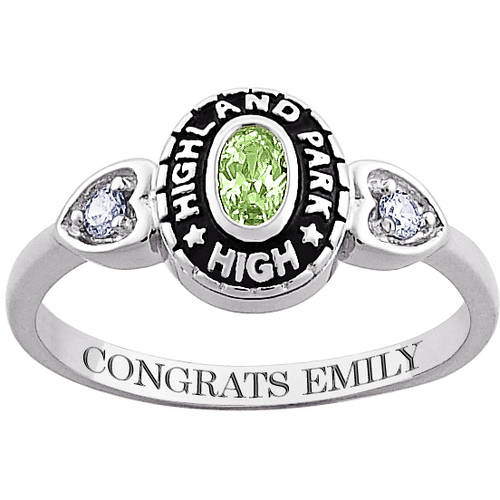 Personalized Sterling-Silver Oval Birthstone with Cubic Zirconia Accents Class Ring
