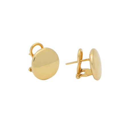 Sterling Silver Omega Back Mirror Button Earrings dipped in Gold (15mm)