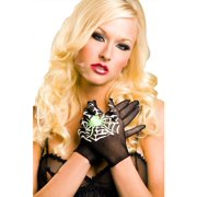 MUSIC LEGS Women's Spider and Web Print Gloves, Black, One Size