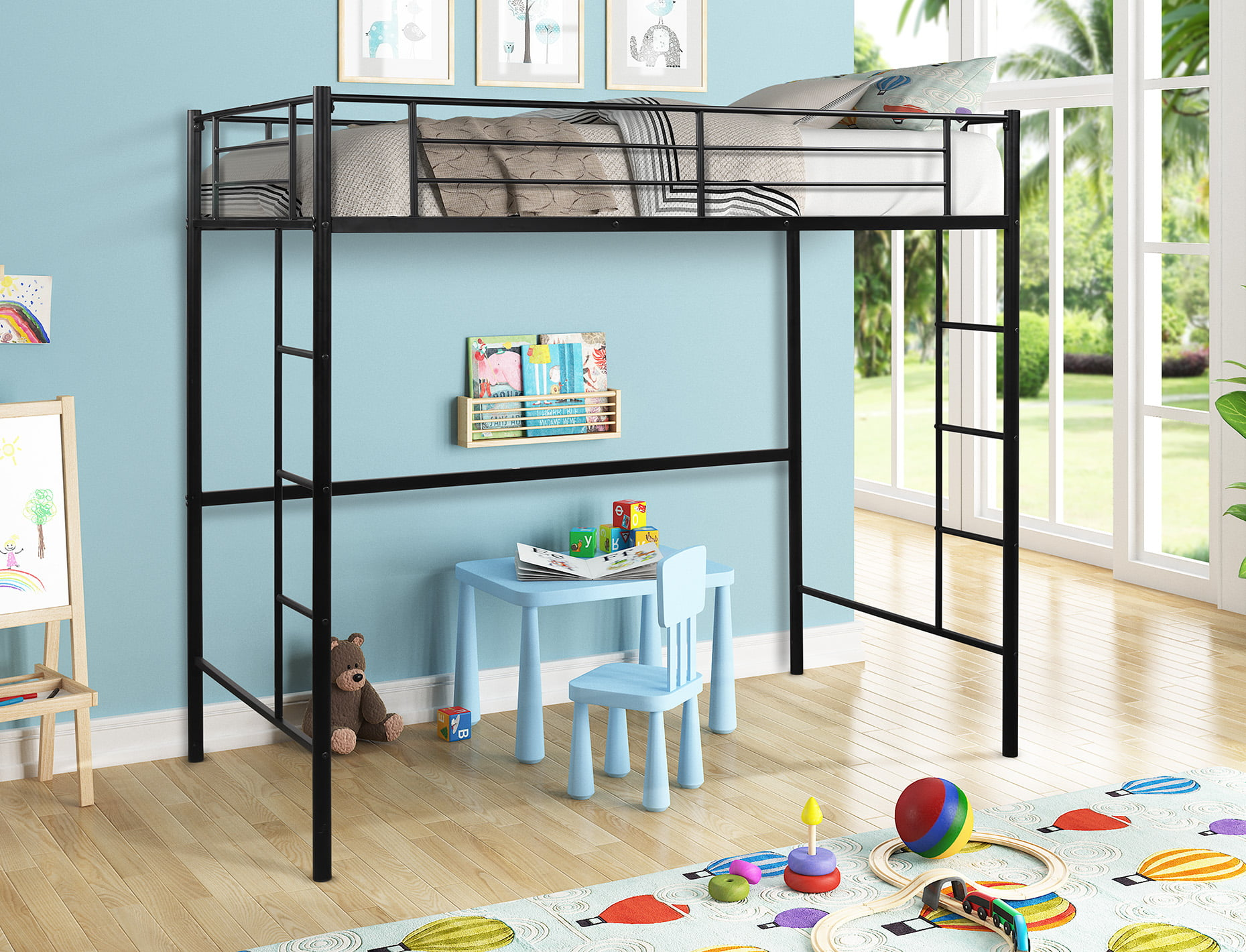 Picture of: Heavy Duty Loft Bed Frame Kid S Room Metal Loft Twin Bed Loft Bunk Bed For Teenage Girls Boys Bedroom Twin Loft Bed Frame With Safety Guardrails Ladder Headboards No Box Spring Needed Black A516
