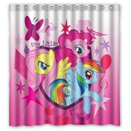 DEYOU Cartoon My Little Pony Rainbow Shower Curtain Polyester Fabric ...