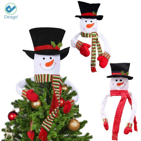 Deago Snowman Top Hat Scarf Christmas Tree Topper Holiday Winter Wonderland Decoration Party Home Xmas Decor (Green)