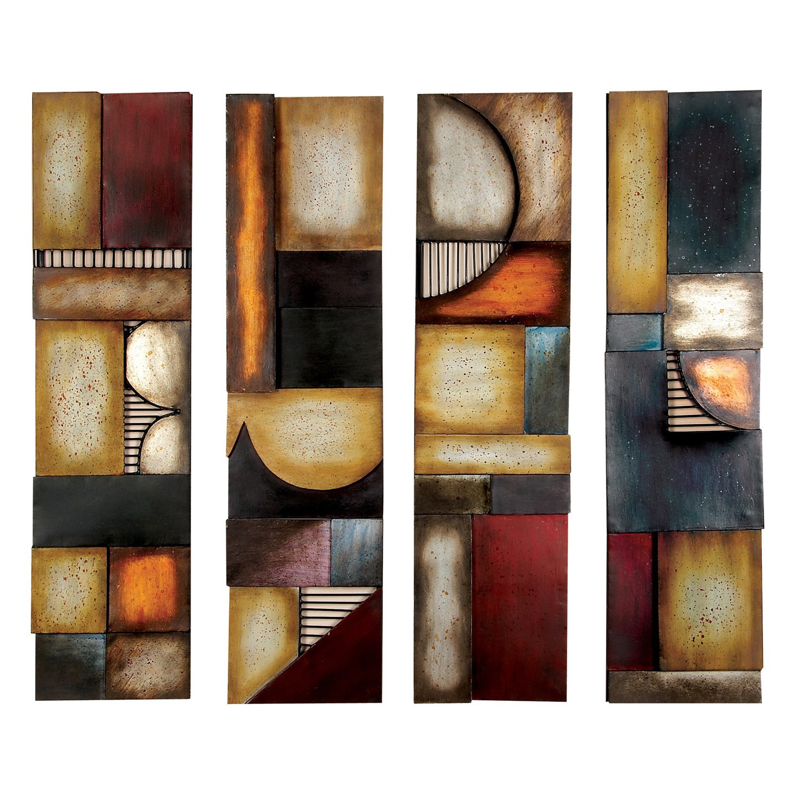 Decmode Metal Wall Plaque, Set of 4-Multi Color by DecMode