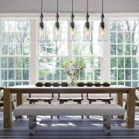 LNC Glass Jar Lights Bottle Chandelier Lighting for Indoor Home Decro, Height Adjustable 1 Light Pendant Lighting for Kitchen/Dining Room