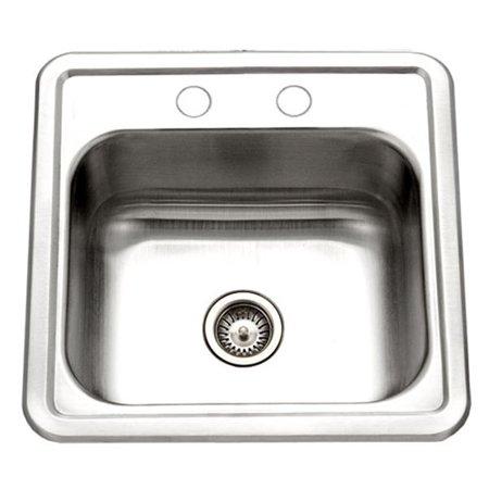 Houzer 1515-6BS-1 Hospitality Series Topmount Stainless Steel 2-Holes Bar/Prep Sink