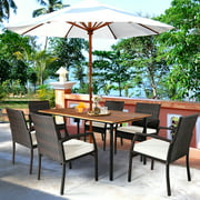 Gymax 7PCS Patio Dining Furniture Set w/ Wooden Tabletop Cushion Umbrella Hole