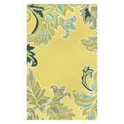 Liora Manne Ravella Ornamental Leaf Border Yellow Indoor/Outdoor Area Rug
