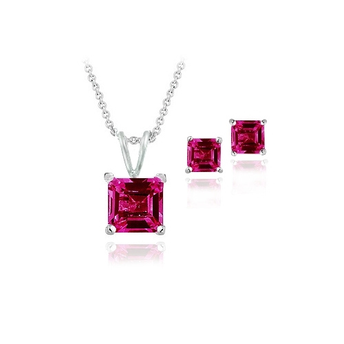 Sterling Silver 3.6ct Created Ruby Square Solitaire Pendant & Stud Earring Set