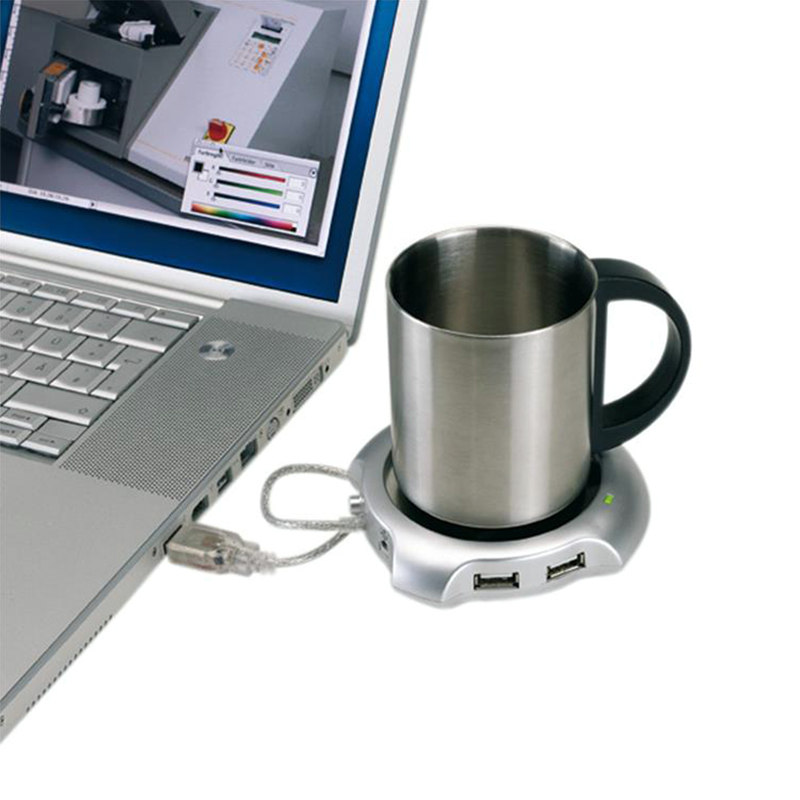 USB Hub Warmer 4 USB Connection Ports Plus Coffee Cup Warmer WORK PARTY GIFT NEW