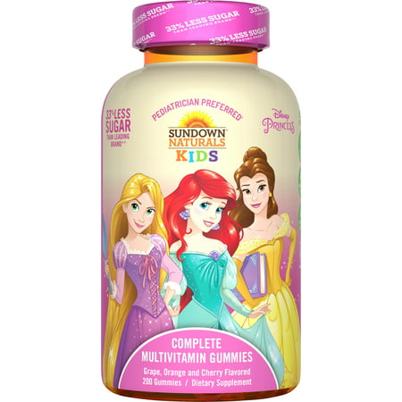 Sundown Naturals Kids Disney Princess Complete Multivitamin Gummy, 200ct