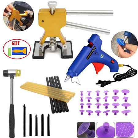【Gifts for Him】Auto Body Paintless Dent Removal Tools Pops a Dent Lifter Kits with Pro Hot Melt Glue Gun Tap Down Sets For Car Hail Damage And Door Dings Repair