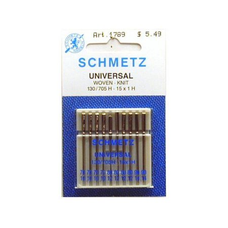 Schmetz Universal Assorted Size Sewing Machine Needles, 10 - Needle Lockstitch Machines