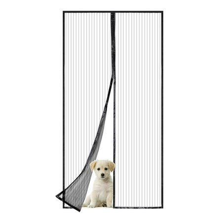 Household Magnetic Fly Screen Mesh Door/NO Gap Powerful Magnetic Full Frame Adhersive Strip and Push Pins Easy Installation/Insect Protection Door Net for Balcony Entrance Doors Patio Black 47