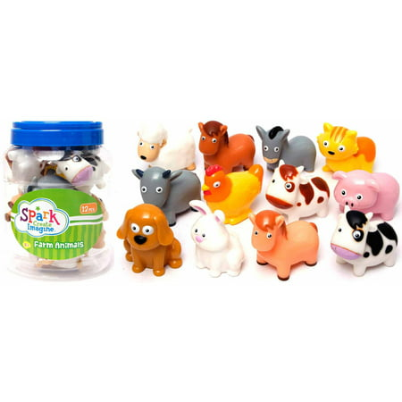 12 Piece Bucket Of Farm Animals