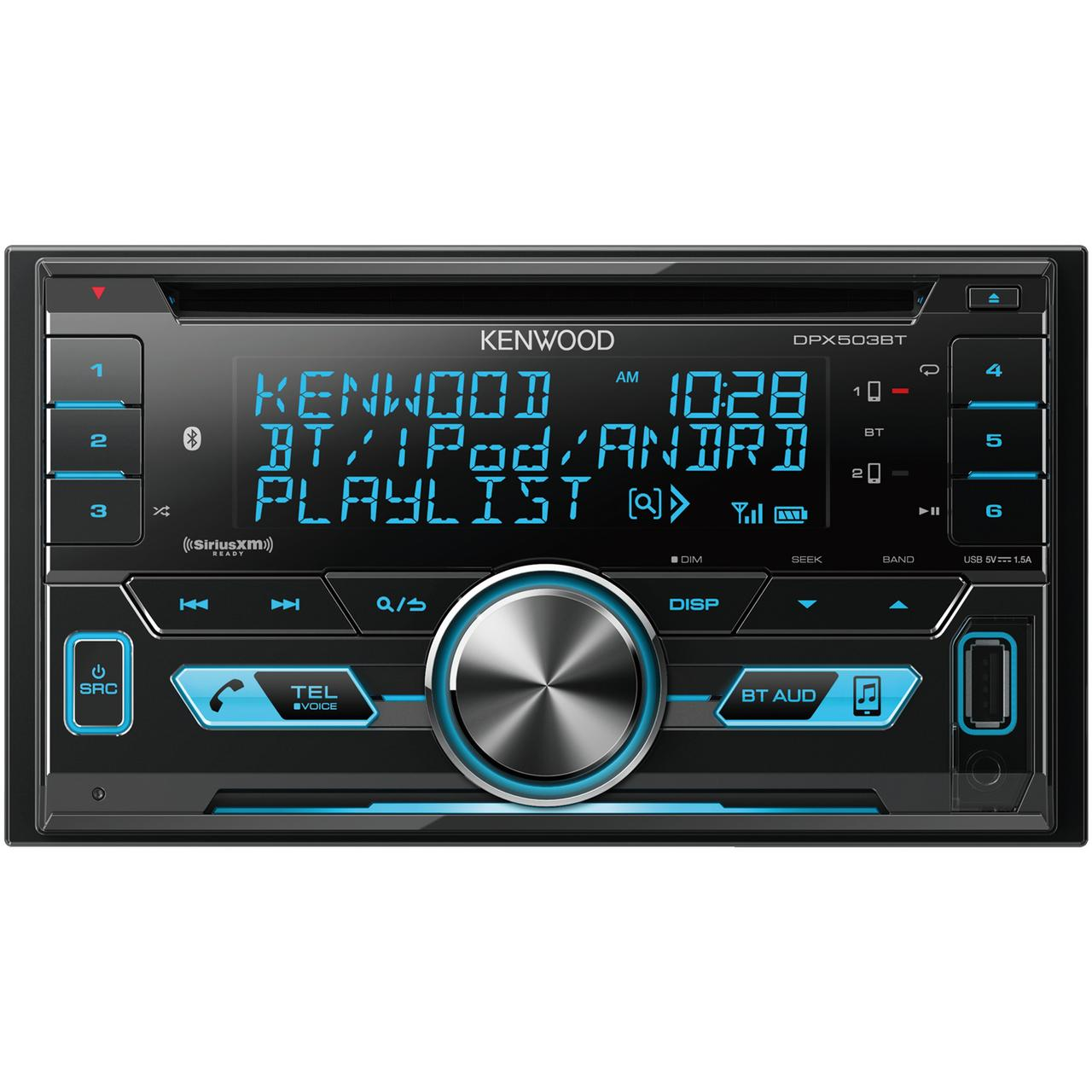 KENWOOD DPX503BT Double-DIN In-Dash AM/FM CD Receiver with Bluetooth & SiriusXM Ready