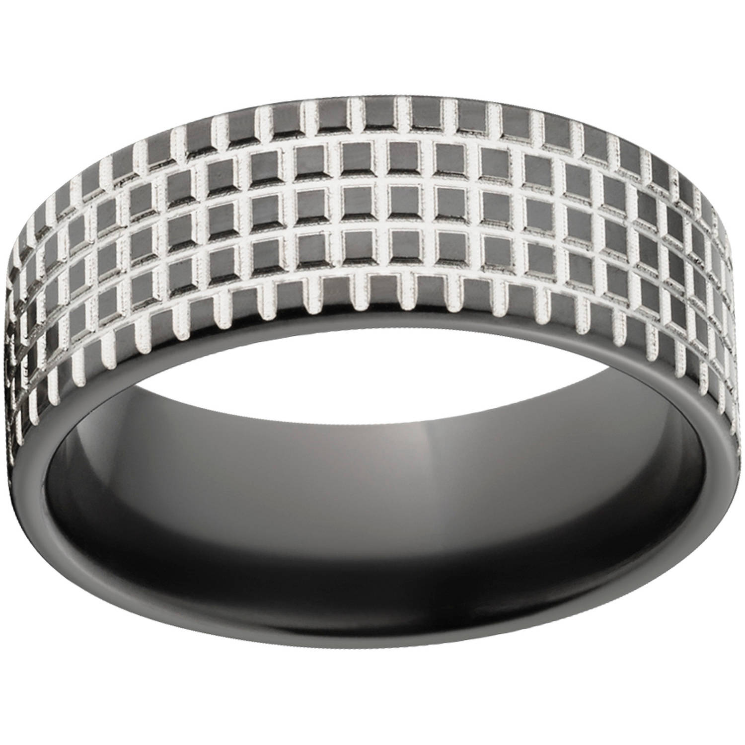 Custom Men's Tire Tread 8mm Black Zirconium Wedding Band with Comfort Fit Design