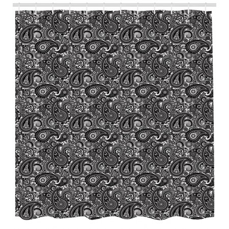 Paisley Shower Curtain Religious Themed Symbol Asian Pattern With Traditional Elements Lace Like Design Fabric Bathroom Set Hooks Black White